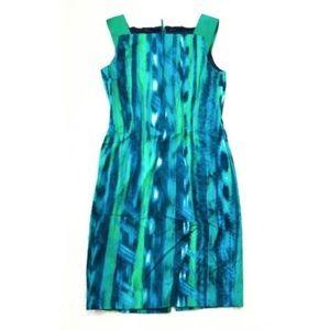 Elie Tahari GReen Blue Printed Shift Dress Leather